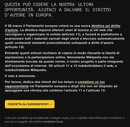Copyright, la pagina di Wikipedia Italia oscurata prima del voto