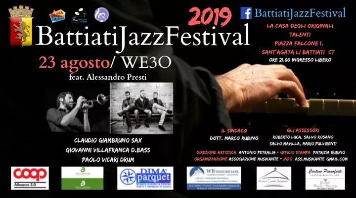 """Continua con successo la musica afroamericana del """"We3o"""". In scena al Battiati Jazz Festival feat Alessandro Presti. Venerdì 23 agosto Sant'Agata Li Battiati – Catania"""