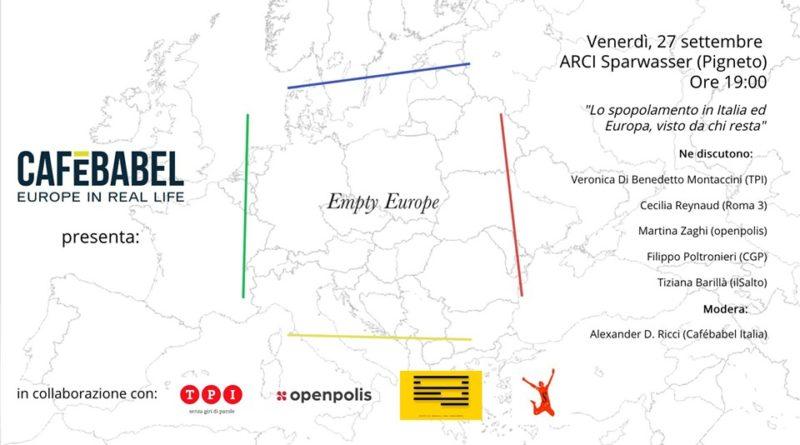 Empty Europe: lo spopolamento in Italia ed Europa Pubblico,  venerdì 27 settembre,  dalle ore 19:00 alle 22:00,   Sparwasser,  Via del Pigneto 215,  Roma