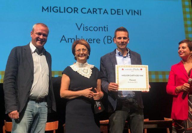 SLOW FOOD: premio speciale 'Miglior carta dei vini d'Italia' assegnato alla Trattoria Visconti di Ambivere (Bg)