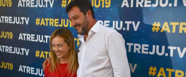 Matteo Salvini intervistato da Luciano Fontana sul palco di Atreju 2019