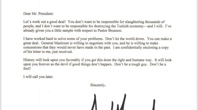 """Crisi Siria. Trump invia lettera a Erdogan: """"Non fare lo spaccone"""". Il Sultano la cestina"""