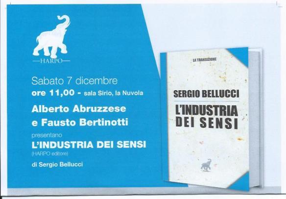 """Sabato 7 dicembre presentazione a Roma del libro """"L'industria dei sensi"""" edito da Harpo Editore"""