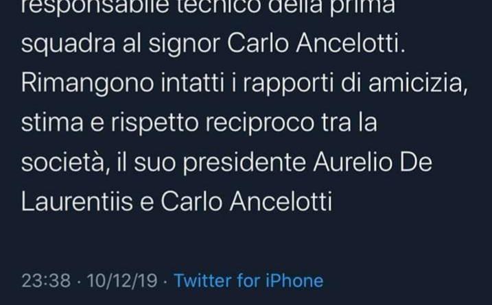 Serie A, Napoli, esonerato Carlo Ancelotti