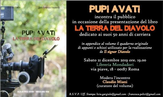 Pupi Avati sabato 21 dicembre ore 19:00 Libreria Mondadori in Via Piave, 18