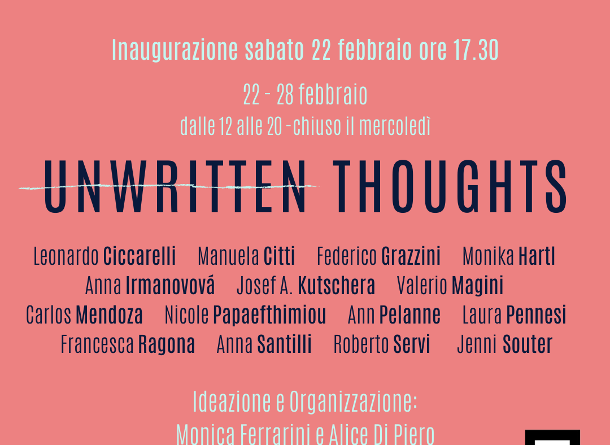 "Mostra di arte contemporanea ""Unwritten Thoughts""."