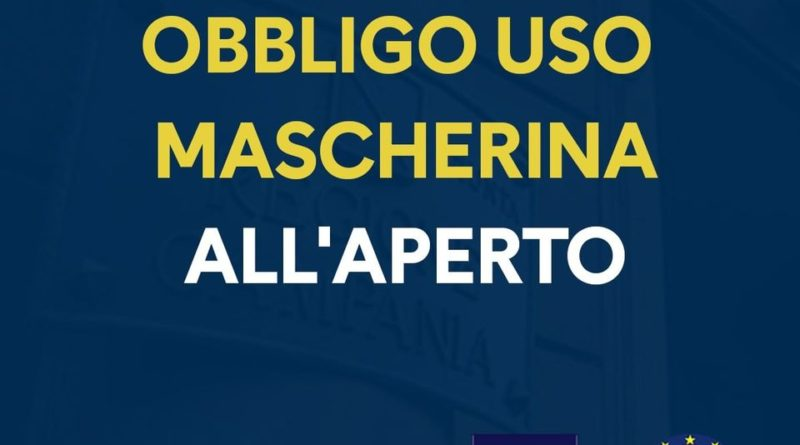 Da oggi obbligo di mascherina all'aperto in Campania tutto il giorno: ordinanza di De Luca
