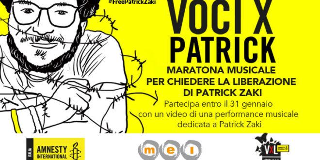 Free Patrick Zaki: l'8 febbraio una maratona musicale per la sua liberazione