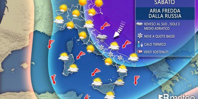 Meteo, apice del freddo russo, neve a bassa quota al Centro Sud, gelo al Nord