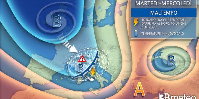 """3BMETEO.COM: """"Tornano piogge e temporali, rischio NUBIFRAGI su parte d'Italia"""""""